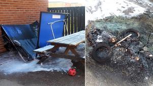 Ett pingisbord och en vagn eldades upp på Freinetskolan Mimer i Norrtälje.