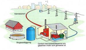 Så här kan en biogasanläggning som producerar både värme och el se ut.