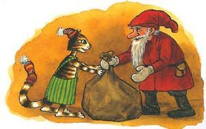 Katten Findus och Pettson firar jul på sitt sätt. Foto: Sven Nordqvist