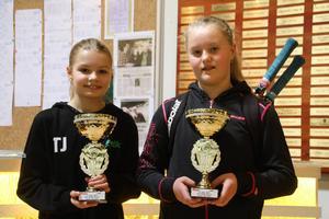 Hemmaspelaren Tilde Jagare och Borlänges Alexandra Karlsson med sina segerpokaler.