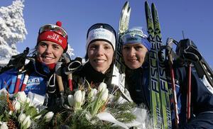 Charlotte Kalla en van vinnare och omslagsflicka tillsammans med Ingemar Johansson och Björn Borg.