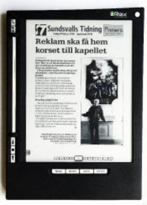Så här ser en ST-sida ut som e-papper. Läsplattan tillverkas av Irex Technologies, ett holländskt bolag inom Philipskoncernen.
