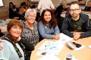 Blivande språkombud i Ljusdal: Ferizan Sagir, Ingalill Jönsson, Marta Cecilia Kram,  och Markus Ellström