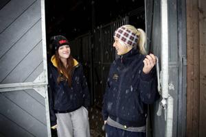– Det är hästar som gäller även på fritiden, säger 16-åringarna Kajsa Magnusson, Hälsingborg, och Teresia Armyr, Stockholm, som går första året på travgymnasiet.