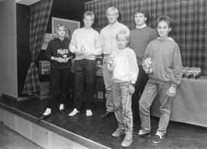 Säsongsavslutningrna, med prisutdelning på ungdomssidan, var länge populära och välbesökta tillställningar. Här en bild från oktober 1988, med från vänster: Ulla Ruuth, Magnus Eriksson, Urban Bergström, Benny Mattsson, Benny Stenberg och Fredrik Holmstrand.