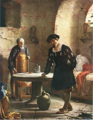 Carl Blochs målning av Kristian II från 1871. Konstverket skildrar den då avsatte danske kungens tid i fångenskap i tornet på Sønderborgs slott