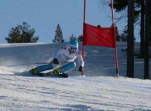 Elsa Håkansson-Fermbäck, Vemdalen, vann i fredags och var tvåa i lördagens storslalom. Finska Nalla Korpio vann med 1.55 före Vemdalens stora talang.Arkivbild: