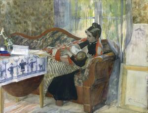"""Under 2009 uppmärksammas både Carl och Karin Larsson med utställningar. Målningen """"Karin och Brita"""" från 1893 visas i Waldemarsuddes utställning om Carl Larsson."""