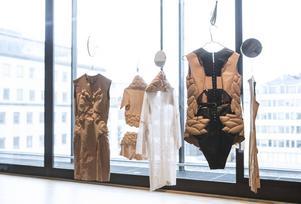Modeskaparen Minna Palmqvists har studerat strecken på kvinnors kroppar före skönhetsoperationer. Hon gör också klänningar med utbuktningar på helt andra ställen än vanligt. Delar av kollektionen