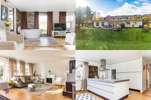 Badkar i sovrummet och utomhusbad är några av de lyxiga detaljerna i den här enplansvillan på Lyckåkersvägen i Ludvika.