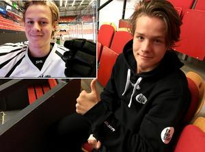 Jesper Boqvist gör tummen upp för lillebror Adam Boqvist.