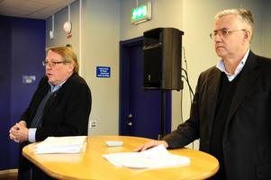 Leksands IF:s ordförande Sven Rosén tillsammans med Mats Emthén som ska göra en rekonstruktion av föreningens bolag.