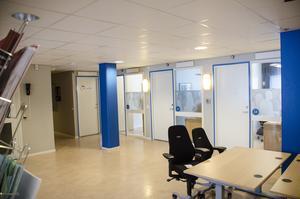 Arbetsförmedlingens kontor på bottenplan.