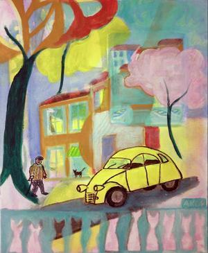 Kanske är det Matisse som kommer i baskern på väg mot sin CV2:a på ett torg i Anneli Kents målning.