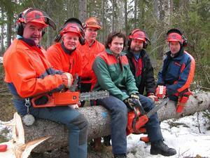 Stamgäster. Från vänster, Pentti Kalkback, Börje Sommar, Håkan Johnsson, Erik Dahlström, Jan Pros och kursledaren Tore Olsson.