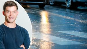 Christoffer Hallgren, meteorolog på väderprognosföretaget Foreca, tycker att det är hög tid att dalfolket byter till vinterdäck. Dessutom berättar han lite om skillnaden mellan olika slags halka.Foto: Foreca och Vegard Wivestad Grott/TT