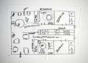 Skisser visar hur personalen vill ha det i de olika rummen.