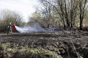 På några få minuter hade de bengaliska eldarna orsakat en större brand i skogen bakom Måsberget. Vinden hjälpte till och spridningen hade blivit mycket större om det inte funnits ett dike i skogspartiet som tillfälligt stoppade upp branden.
