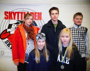 Fem jämtskyttar tog sig till Skyttiadens Riksfinal i Eskilstuna der de gjorde väldigt bra i från sig.  Bakre raden från vänster, Marie Bixo Hellman, Aspås, Niklas Karlsson, Fältjägarna, Erik Palmqvist, Aspås. Duon främst är klubbkompisarna Anna Mårtensson och Elisabeth Eriksson från Kyrkås.