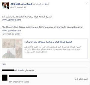 Abo Raad har länkat till Abdullah Azzam som kallats