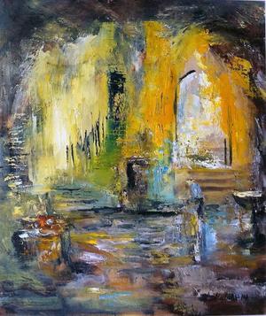 Choice of path, en av Anders Malms målningar som visas i Rom.
