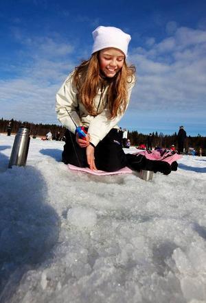 Rebecka Jansson som går i fyran gillar inte att fiska.Foto: Håkan Luthman