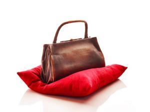 En av Susanna Arwins handväskor, fruktat vapen i brons på röd kudde.   Foto: Galleri Agardh & Tornvall