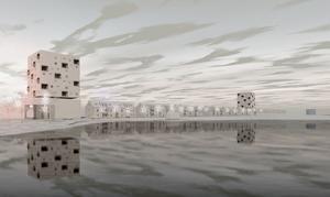 Illustrationen av framtidens Östernäs som Ljusdalshem låtit Östberg arkitektur ta fram.