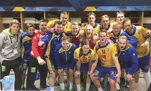 Bild från omklädningsrummet efter matchen mot Vitryssland.