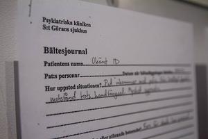 Del av journalen, om bältesläggningen av Anna Odell den 21 januari 2009.