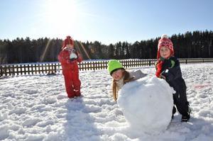 SNÖLEK. Disa Carlsson, Marie Carlsson och Alicia Axelsson ska bygga en snögubbe.
