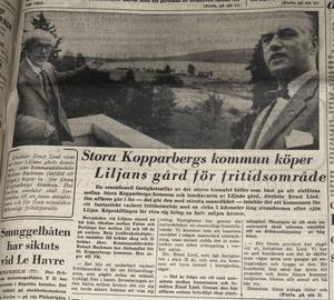 Artikel i FK 1960 som visar att Stora Kopparbergs kommun köpt Liljansområdet för rekreation.