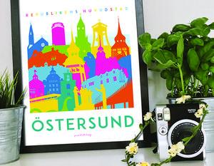 Nu kan Östersund stoltsera med en egen poster över några av stadens kända byggnader.