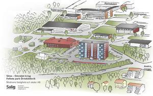 I etapp 2 ligger att Moälvens Fastigheter och Skolor ska bygga ett flerfamiljshus på optionsmarken vid Folkets Park.