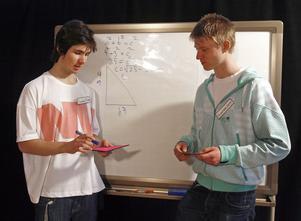 Anton Svensson och Ramin Malek, Söderala agerar själva framför kameran för att påvisa Pythagoras sats.