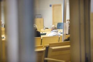 Martin Saxlind under rättegången i säkerhetssalen i Södertörns tingsrätt.