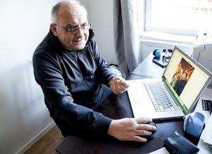 Yaroslav Staroselsky visar privata bilder i sin dator. – Vi kan inte återvända till Ukraina där vi riskerar livet, säger han.