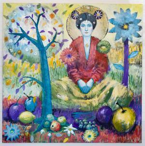 En av gävlekonstnären Pär Kocks färgrika målningar i utställningen på lilla fina Färila Konsthall just nu. Meditation. Blandteknik.
