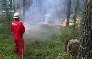 Kristian Kjellgren, Bräcke, ingick i det manskap som på tisdagseftermiddagen bekämpade branden i Gimdalenskogarna.  Foto: Ingvar Ericsson