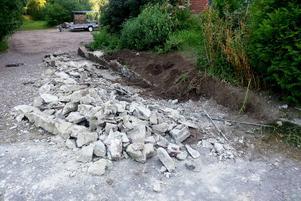 Så här såg muren ut när stenläggarna lämnade den.