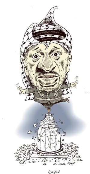 Yassir Arafat. Palestinierna trängda av israeliska bosättningar på ockuperad mark.