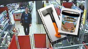 25-åringen rånade affären med en yxa.