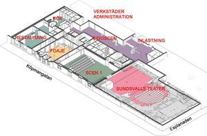 Skisserna på nya teaterkvarteret i Sundsvall.    Skiss: Sweco och Sundsvalls kommun.