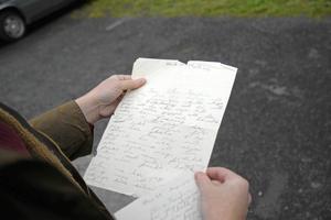 Marin Hemmingssons brev från Solvik, den 27 juli, 1938. Hennes mamma sparade alla brev.