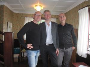 Innertrion i Bowie-projektet. Bröderna Rongedal flankerar Staffan Sjösvärd som skrivit arrangemanget.