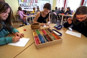 Tecknade bidrag. Eleverna vid Järnboås skola bidrar till mässan i Utrecht med teckningar av vad de gör på sin fritid. Elsa Nilsson målar sitt hus i fyra årstider, Linn Spjuth avbildar sig själv klättrande i ett träd och Alice Tengelin tecknar ett minne från en tältövernattning.