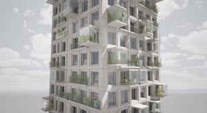 Fasaden ska byggas av vita betongelement.