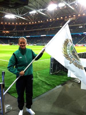 Lina Ringshamre var fanbärare för Hälsingland när Friends Arena i Solna invigdes förra veckan. .