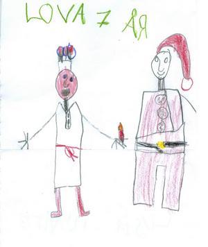 Lova 7år från Ockelbo, har skickat in en teckning på en lucia och en tomte. God Jul!