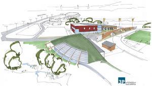 """Nya hallar. I förgunden """"Skiddomen"""", bakom syns innebandyhallen och friidrottshallen. Till höger friidrottsarenan."""